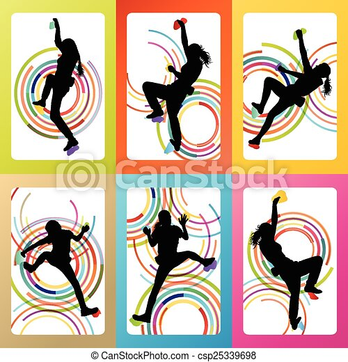 girl climbing rock wall set vector background concept eps vectors rh canstockphoto com