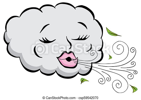 Girl Cloud Blowing Wind Cartoon - csp59542070