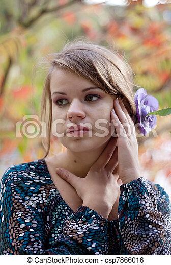 girl, collants, pourpre, automne, beau - csp7866016