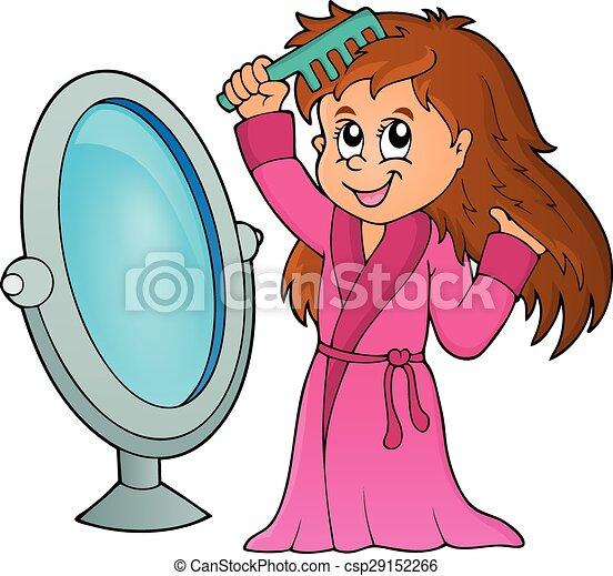 Girl combing hair theme 1 - csp29152266