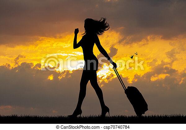 girl, coucher soleil, valise - csp70740784