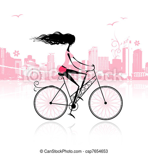 Girl cycling in the city - csp7654653