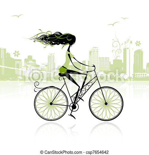 Girl cycling in the city - csp7654642