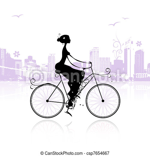 Girl cycling in the city - csp7654667