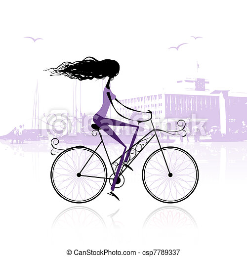 Girl cycling in the city - csp7789337