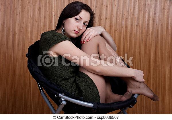 girl, déchiré, collants, songeur, triste - csp8036507
