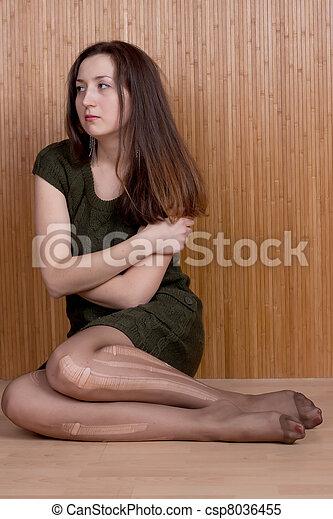 girl, déchiré, collants, songeur, triste - csp8036455