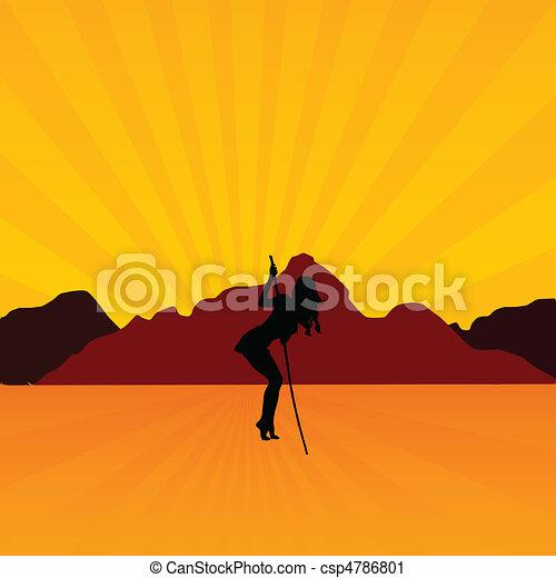 girl, désert, illustration - csp4786801