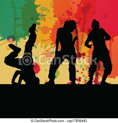 Girl dance silhouette vector color splash background concept - csp17836493