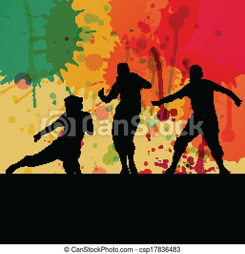 Girl dance silhouette vector color splash background concept - csp17836483