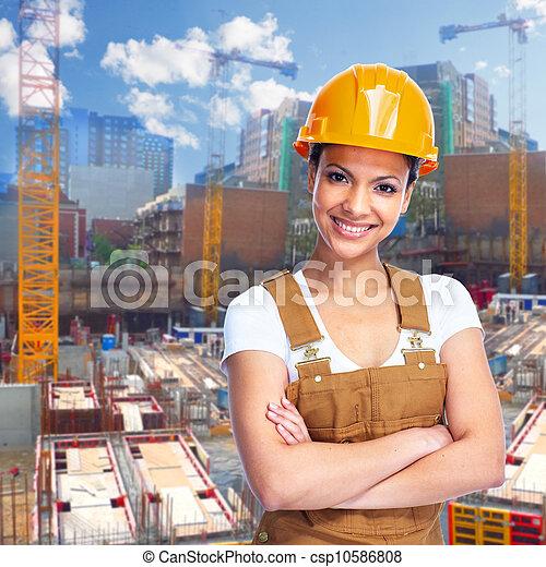 girl., de arbeider van de bouw - csp10586808