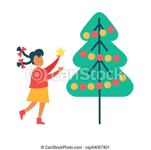12d07f5c Girl decorates new year tree putting star on top. Girl decorates new ...