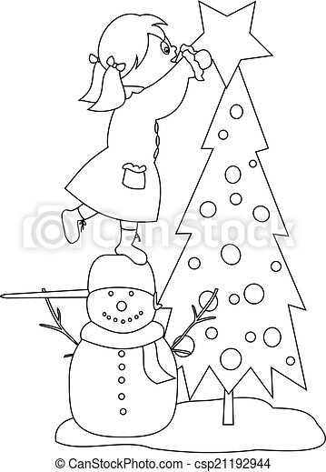 Girl decorating the christmas tree - coloring book image.