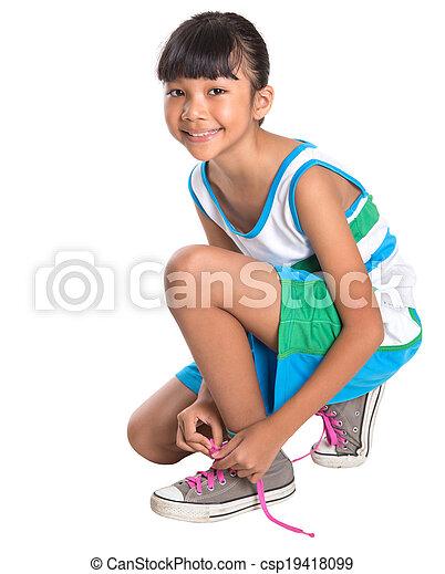 girl, dentelles chaussure, attachement, jeune - csp19418099