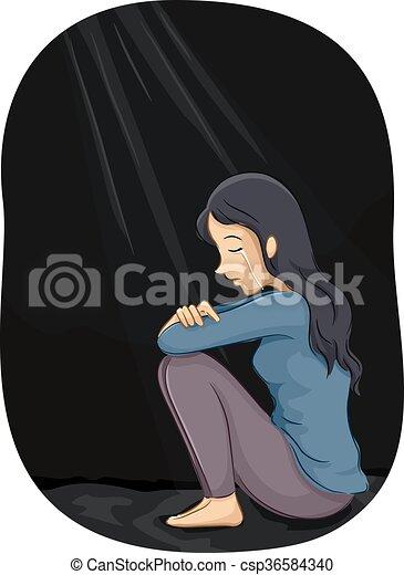Girl depression. Illustration of a depressed girl crying ...