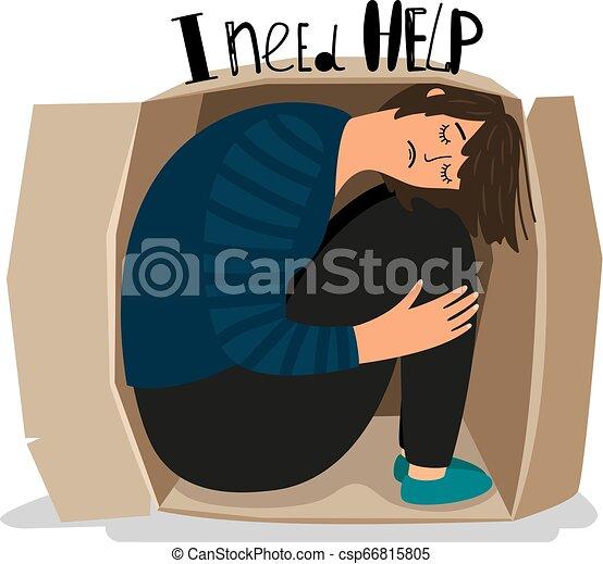 Girl Depression Icon Girl Depression Sad Depressed Young Woman In Cardboard Box Vector Illustration Introvert Sadness