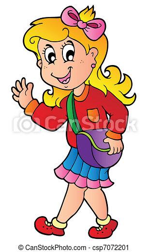 girl, dessin animé, marche, école - csp7072201