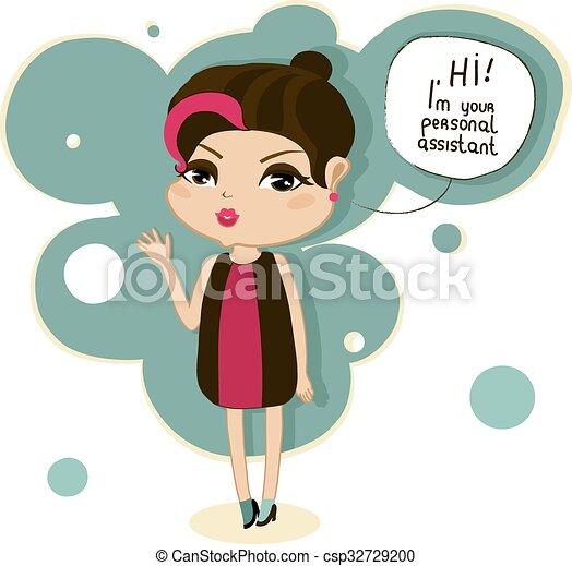 Girl Dit Dessin Anime Bonjour Mignon Auxiliaire Personnel Dessin Anime Dit Girl Salut Ton Canstock