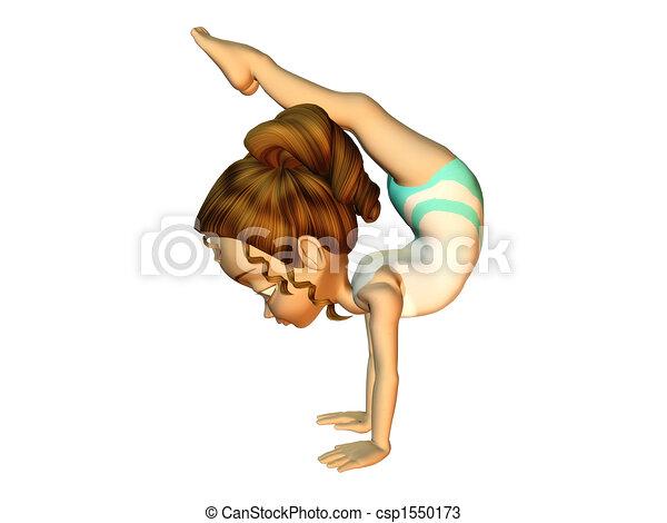 Girl doing gymnastics - csp1550173