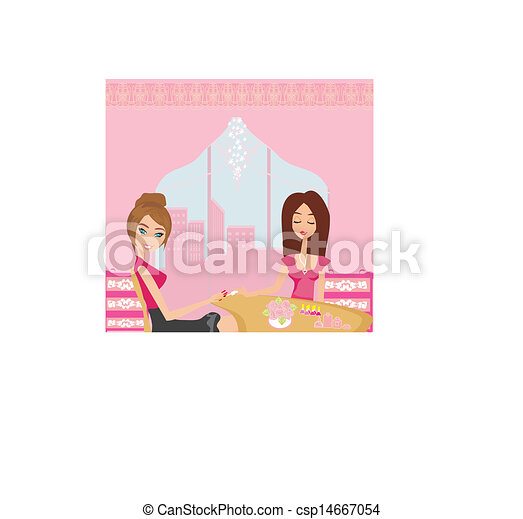 girl doing manicure in beauty salon  - csp14667054