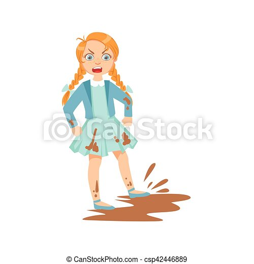 girl doing splash in mud puddle teenage bully demonstrating mischievous  uncontrollable delinquent behavior cartoon | canstock  can stock photo