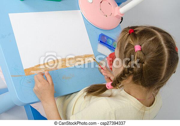 Girl draws on the ground below - csp27394337