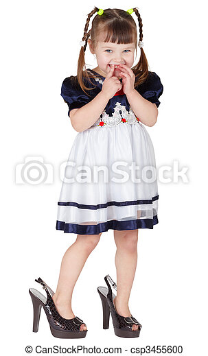 Girl dressed big shoes, isolated on white - csp3455600