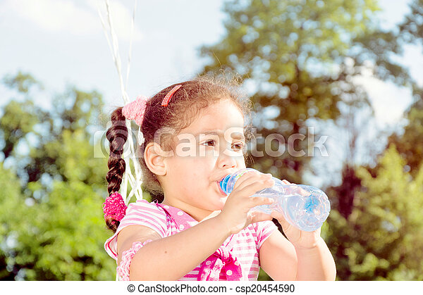 Girl drinking the water - csp20454590