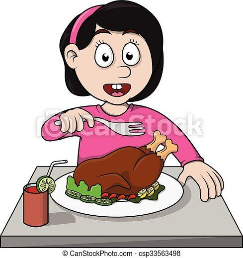 girl eat roasted chicken cartoon illustration eps vectors search clip art  illustration Soda Bottle Clip Art Soda Pop