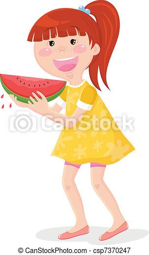 girl eating watermelon - csp7370247