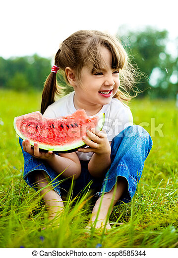 girl eating watermelon - csp8585344