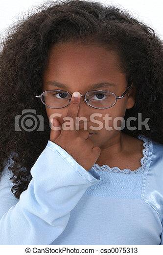 girl, enfant, lunettes - csp0075313