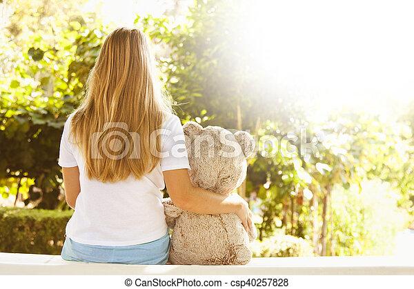 girl, extérieur, coucher soleil, bourré - csp40257828