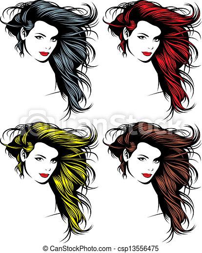 girl face and hair  - csp13556475