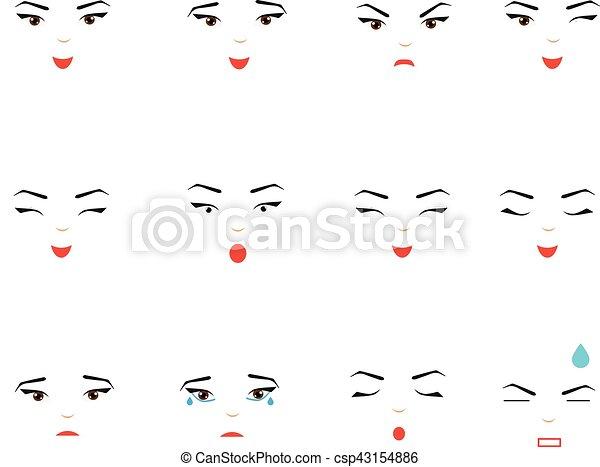 Girl Face Expressions Emotions Woman Female Emoji Set Design