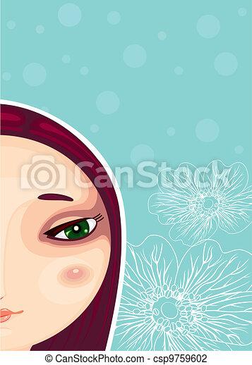 Girl Face Part Close-up - csp9759602