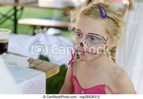 girl, facepainting - csp28528312