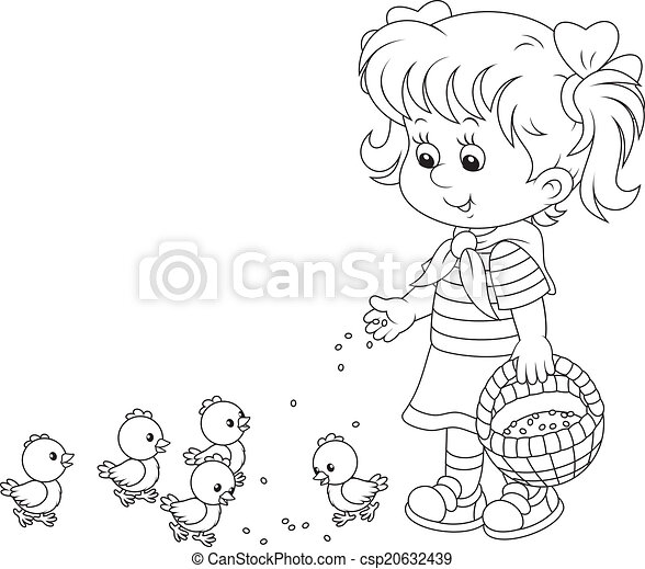 Girl feeding chicks - csp20632439