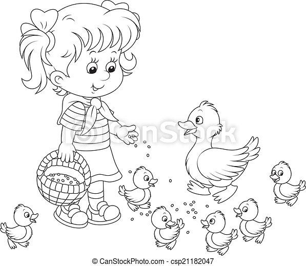 Girl feeding ducklings - csp21182047