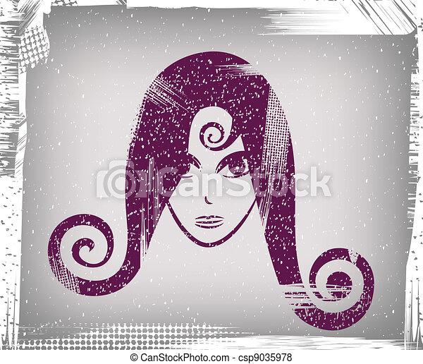 girl, figure, (grunge) - csp9035978