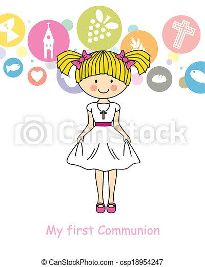 Girl First Communion - csp18954247