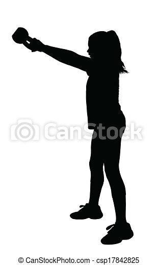 girl fitness exerciser silhouette csp17842825