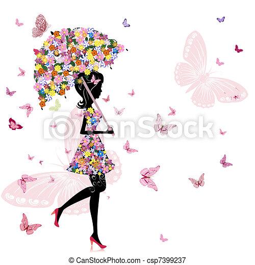girl, fleur, parapluie - csp7399237