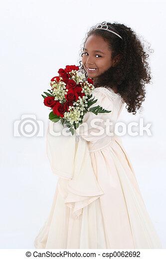 girl, fleurs, enfant - csp0062692