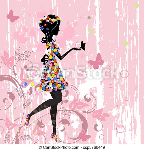 Girl flowers pattern - csp5768449