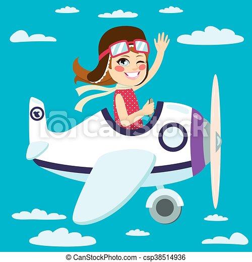 Girl Flying Plane Cute Little Girl Flying A Plane On Sky Waving Hand
