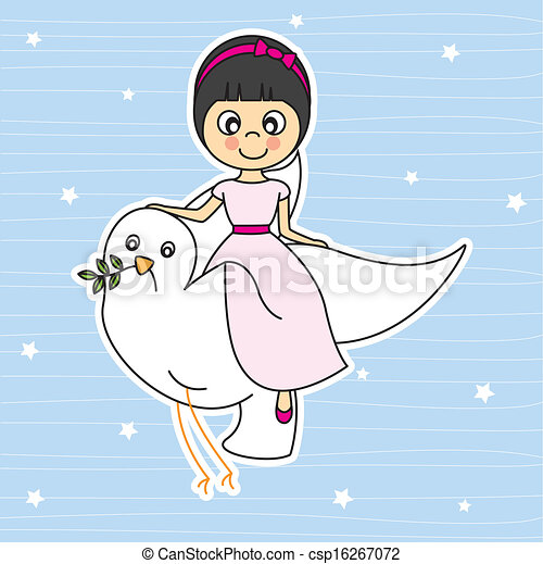 Girl flying with a dove - csp16267072
