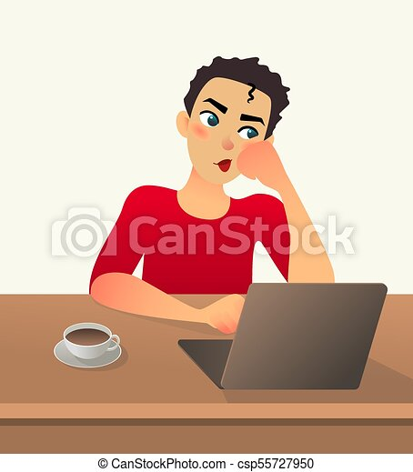 Girl freelancer bored. Young woman works at home sitting in front of a laptop. Cartoon flat girl working online or studying and learning while using notebook at cafe. Freelance work concept. - csp55727950