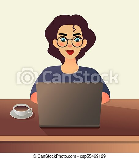 Girl freelancer. Young woman in glasses works at home sitting in front of a laptop. Cartoon flat girl working online or studying and learning while using notebook. Freelance work concept. - csp55469129
