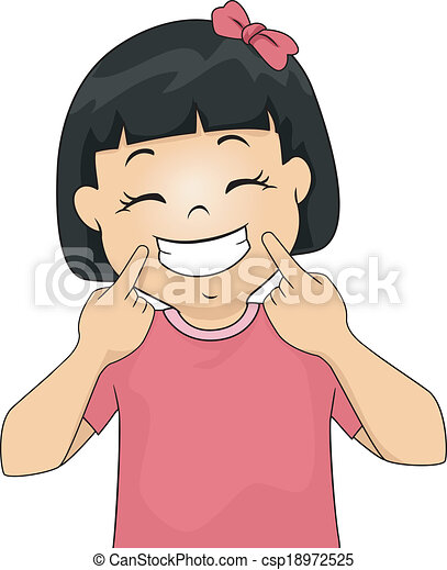 illustration of a little girl gesturing a smile rh canstockphoto com selling clipart smiley clip art free download